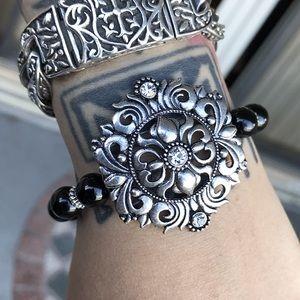 Silverskylight Jewelry - Onyx victorian gothic silver flower cz bracelet